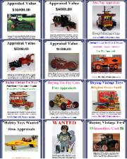 Buying Vintage Toy Collections, toy appraisal, Vintage toy truck value, free toy appraisals, buying vintage toys any condition. Buddy L Museum world's largest buyer of  American vintage toys, German vintage toys, Japanese vintage toys and more